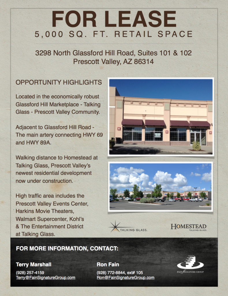 Commercial Real Estate for Lease Prescott Valley